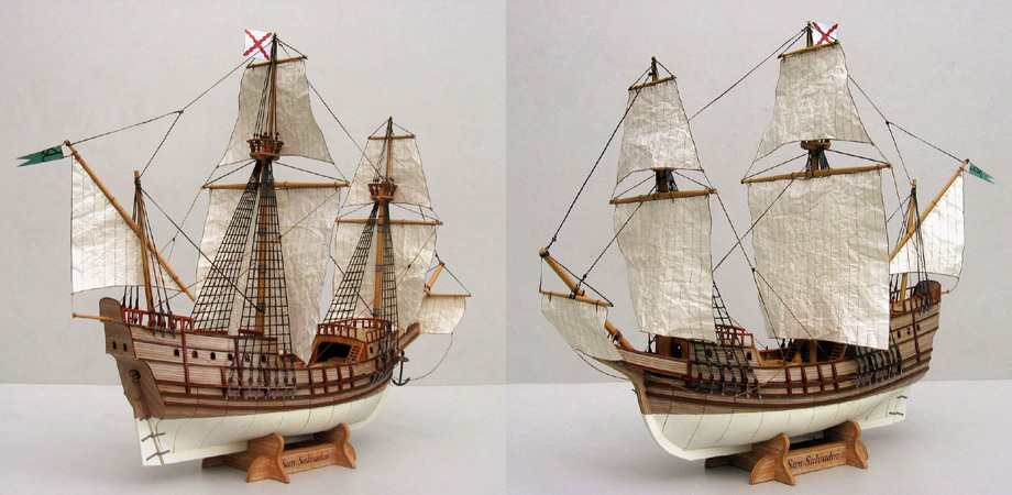 San Salvador Spanish galleon free paper model download.